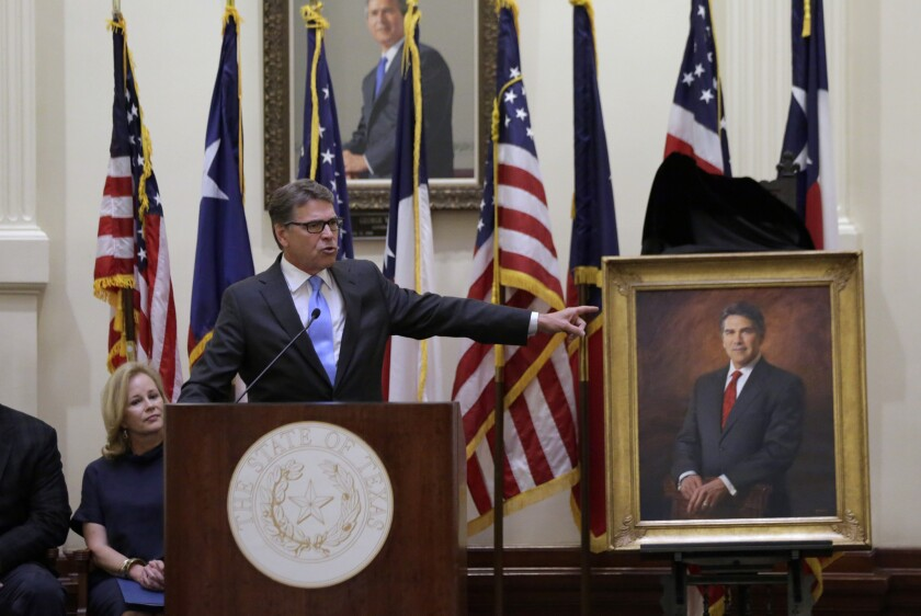 "Former Texas Gov. Rick Perry at the unveiling of his official portrait in Austin, Texas on May 6. Perry recently backtracked on comments he made last year, when he called Trump's candidacy ""a cancer on conservatism."""