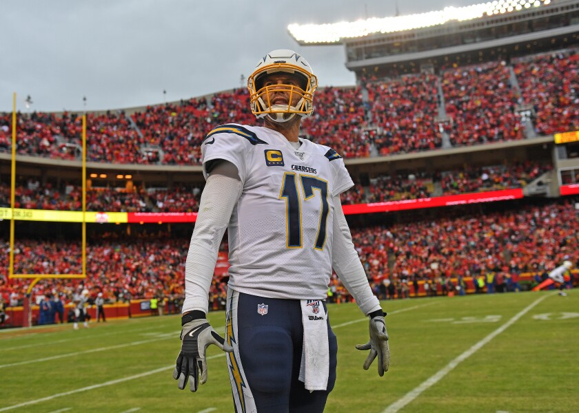 Philip Rivers looks up into the stands during what may have been his last game with the Chargers on Sunday in Kansas City.