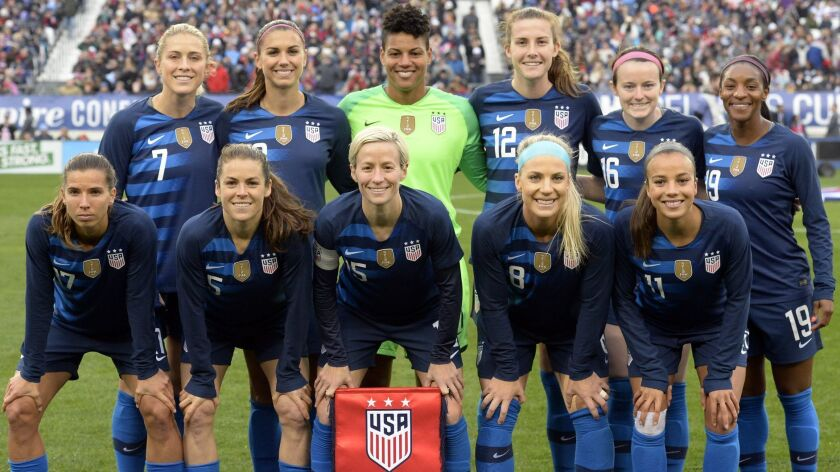 The United States women's national soccer team poses before a SheBelieves Cup women's soccer match a