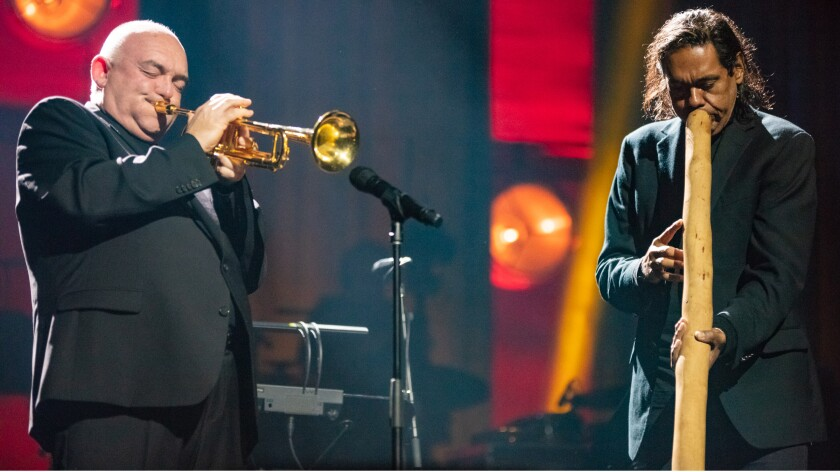 "Trumpeter James Morrison and didgeridoo master William Barton in the ""International Jazz Day From Australia"" on PBS."