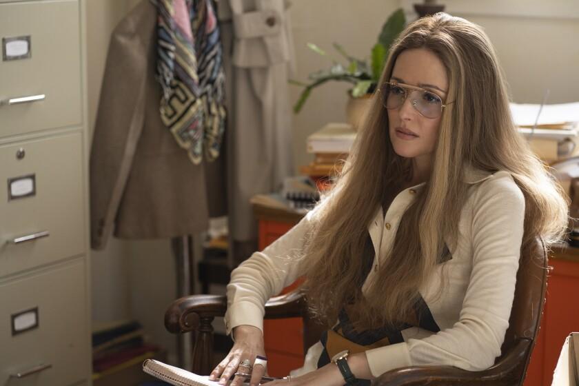 "Rose Byrne as feminist icon Gloria Steinem — replete with memorable mane — in ""Mrs. America."""