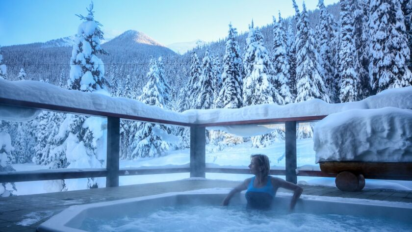 The hot tub with a view at Cariboos Lodge.