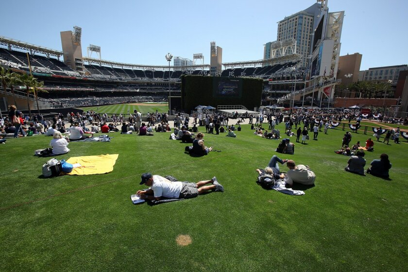 As shown on Opening Day 2013, Petco's Park at the Park  is a great place to relax, have a picnic or even watch the game.