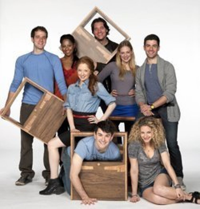The cast includes Kelsey Kurz, Nicole Lewis, Kate Morgan Chadwick, Heath Calvert, Jenni Barber, Adam Kantor (and on floor, from left) Alex Brightman and Lauren Molina. Henry DiRocco.