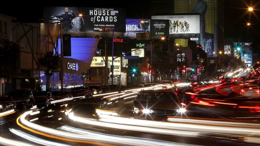 """An advertisement for the final season of Netflix's """"House of Cards"""" is featured on a Netflix-owned billboard along the Sunset Strip in West Hollywood."""