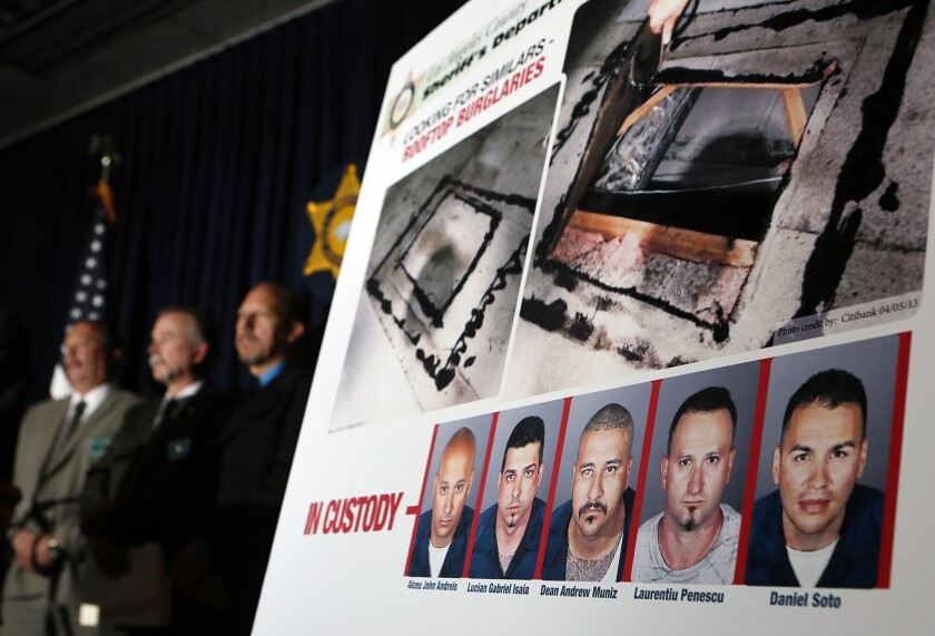 L.A. County Sheriff Lee Baca and detectives from the Major Crimes Bureau detail their investigation into five men arrested in April 2013 in a series of rooftop bank heists.