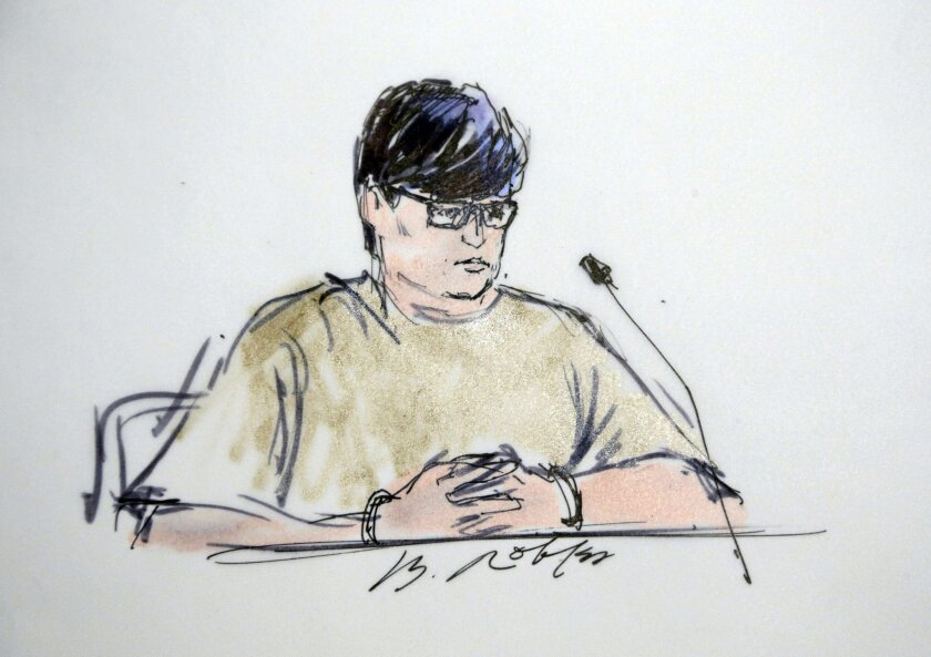 Enrique Marquez Jr. appears in federal court in Riverside on terrorism and immigration fraud charges.