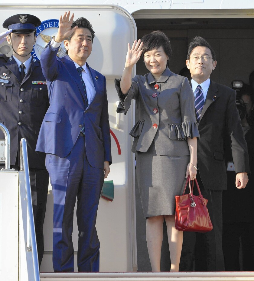Japanese Prime Minister Shinzo Abe and wife Akie leave for the United States, where he is to address a joint session of Congress this week.