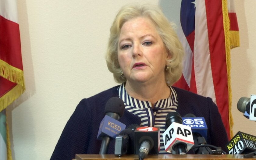 Alameda County Dist. Atty. Nancy E. O'Malley at a news conference in 2016.