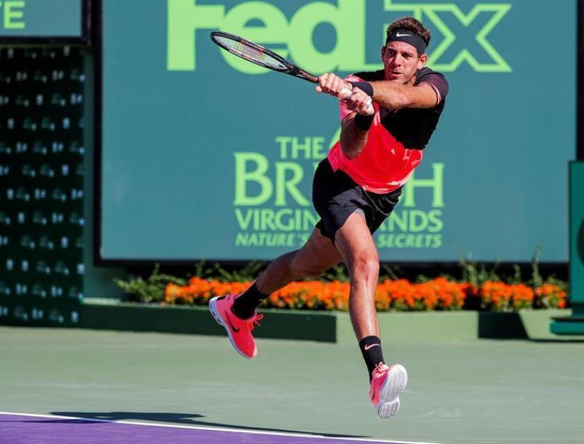 Juan Martin del Potro of Argentina in action against Kei Nishikori of Japan during a third round match at the Miami Open tennis tournament on Key Biscayne, Miami, Florida, USA, 25 March 2018. EFE