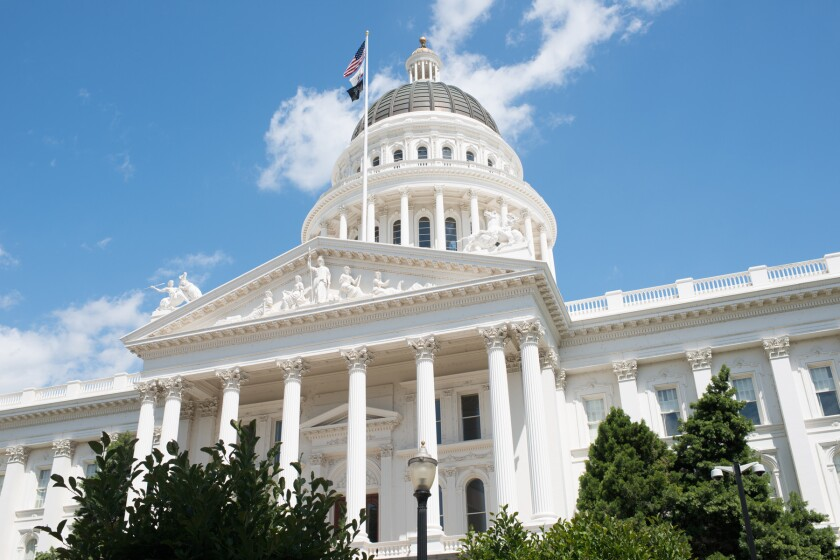 The state capitol building in Sacramento, the capital of California.