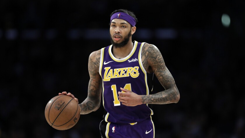 Brandon Ingram a game against the New Orleans Pelicans on Feb. 27 at Staples Center.