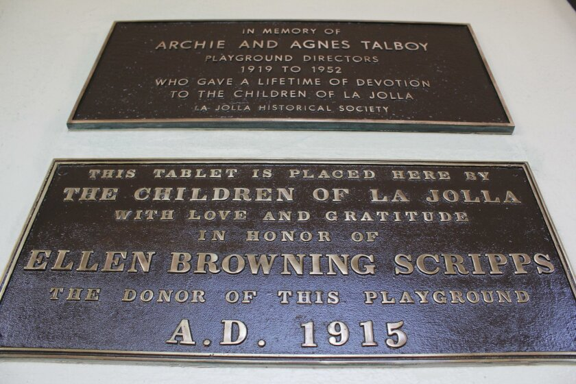 The planned restoration of the existing bronze plaques at La Jolla Recreation Center was completed in time for La Jollans to see the finished products at the La Jolla Christmas Parade & Holiday Festival. The two pictured here honor Ellen Browning Scripps, who funded the Recreation Center's construction as a gathering place for all, and Archie and Agnes Talboy, early playground directors at the center.