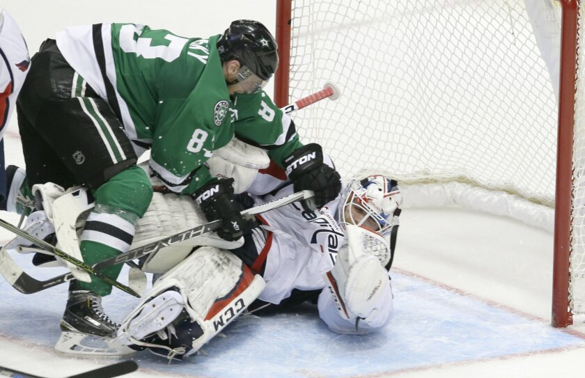 Washington Capitals goalie Braden Holtby (70) is knocked to the ice by Dallas Stars right wing Ales Hemsky (83) during the second period of an NHL hockey game Saturday, Feb. 13, 2016, in Dallas. (AP Photo/LM Otero)