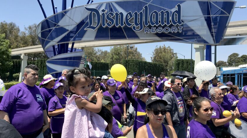 ANAHEIM, CALIF. -- TUESDAY, JULY 3, 2018: Disneyland workers from SEIU, UFCW, BCTGM local 83, and T