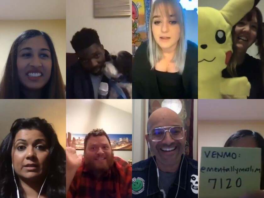 """Hosted by Zara Khan, top left, comedians (clockwise) KJ Robinson, Ashley Kelly, Andy Erickson, Tamer Kattan, Anthony Davis and Mona Shaikh livestreamed a stand-up show titled """"Combating Coronavirus"""" over Zoom and Facebook Live on March 20."""