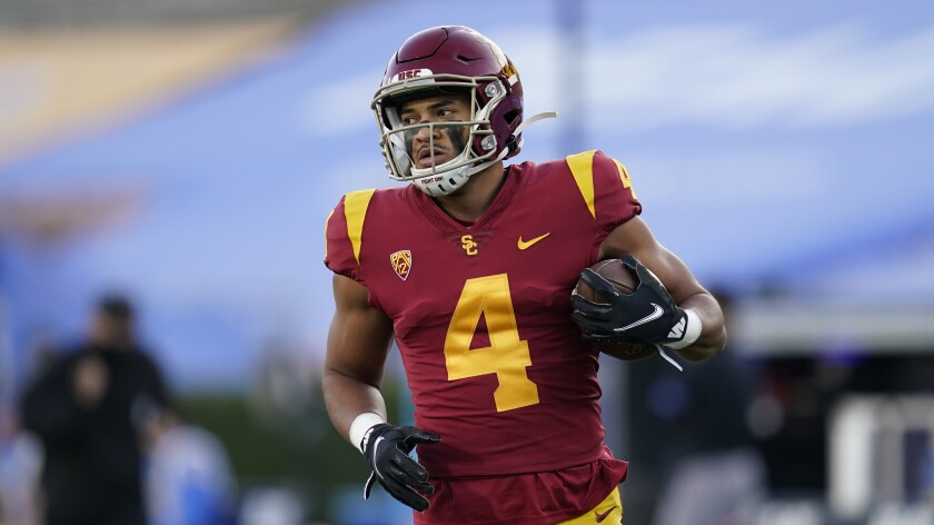 USC receiver Bru McCoy warms up before a football game against UCLA on Dec 12, 2020