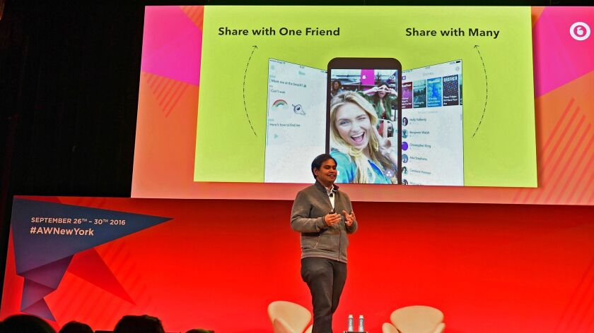 Snap Inc.'s chief strategy officer, Imran Khan, speaks onstage at the Storytelling in the age of Snapchat panel at the Town Hall during Advertising Week New York on September 26, 2016.