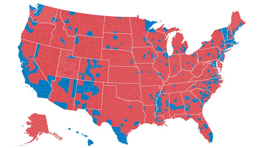 The presidential vote by county.