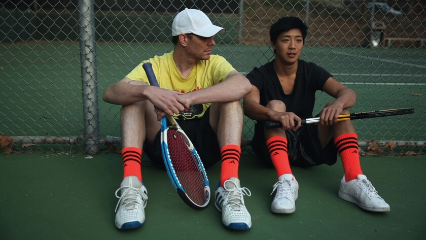 """Robert Cannon, left, and Justin Lee in the movie """"30-Love."""""""