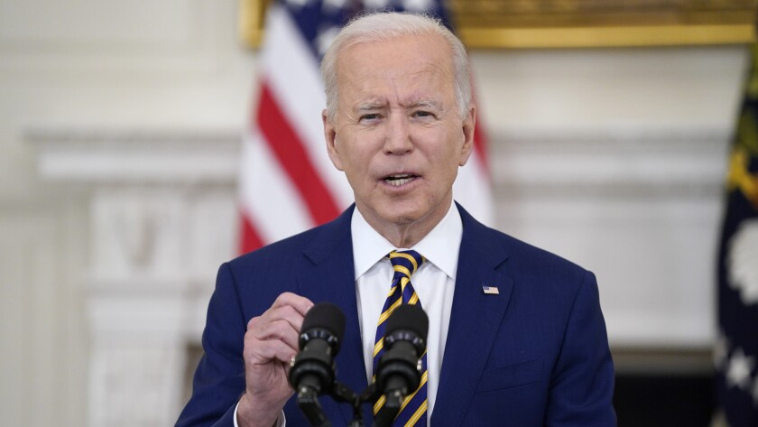 FILE - In this June 18, 2021, file photo, President Joe Biden speaks in the State Dining Room of the White House in Washington. (AP Photo/Evan Vucci, File)