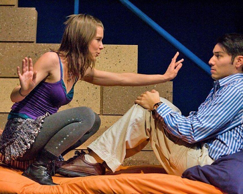 "Rachael VanWormer and Steven Lone in San Diego Rep's ""boom."""
