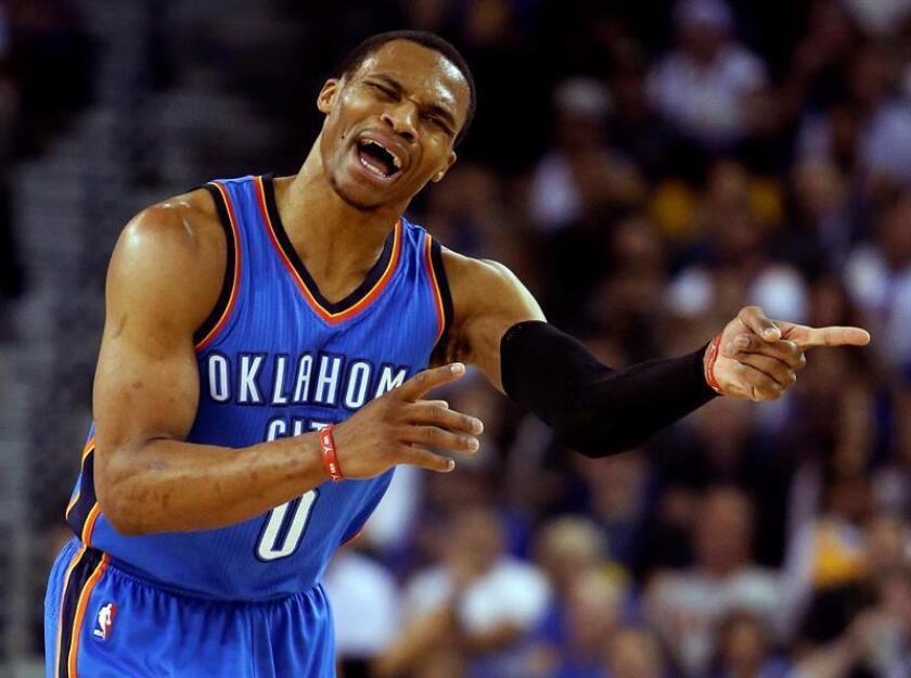 En la imagen, el jugador de los Thunder de Oklahoma City Russell Westbrook. EFE/Archivo