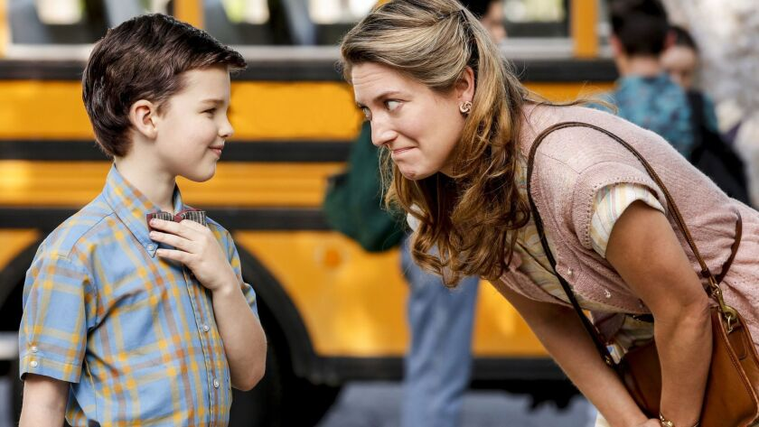 """Iain Armitage plays the young Sheldon Cooper and Zoe Perry plays his mom in """"Young Sheldon,"""" CBS' new spin-off of """"The Big Bang Theory."""""""