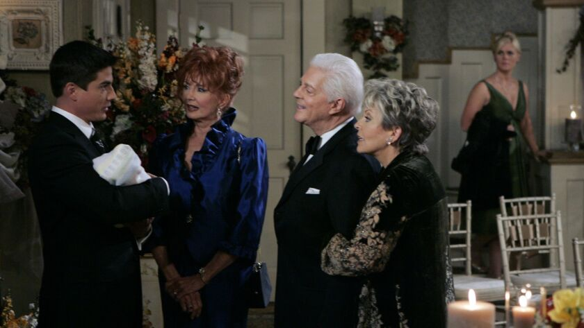 "Bryan Dattilo, left, Suzanne Rogers, Bill Hayes, Susan Hayes and Alison Sweeney in a scene from ""Days of Our Lives."""