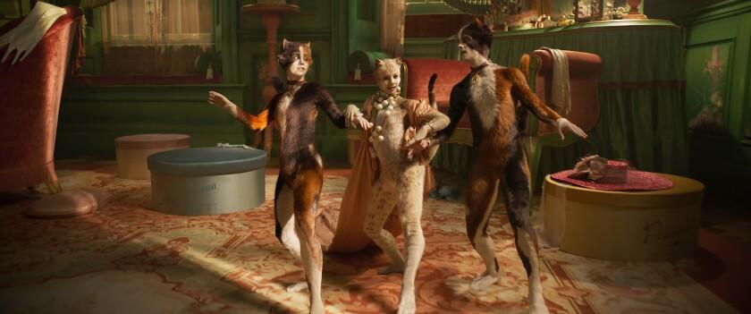 """Cats,"" from left, Rumpleteazer (Naoimh Morgan), Victoria (Francesca Hayward) and Mungojerrie (Danny Collins),"