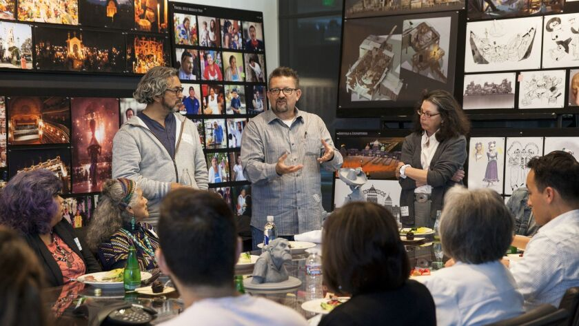 Members of the Latino community visit Pixar Animation Studios on May 12, 2016, for a roundtable sess