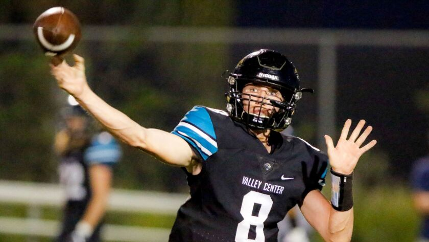 Valley Center quarterback KJ Mazzetti completed 137 of 271 passes for 2,181 yards and 15 TDs last season.