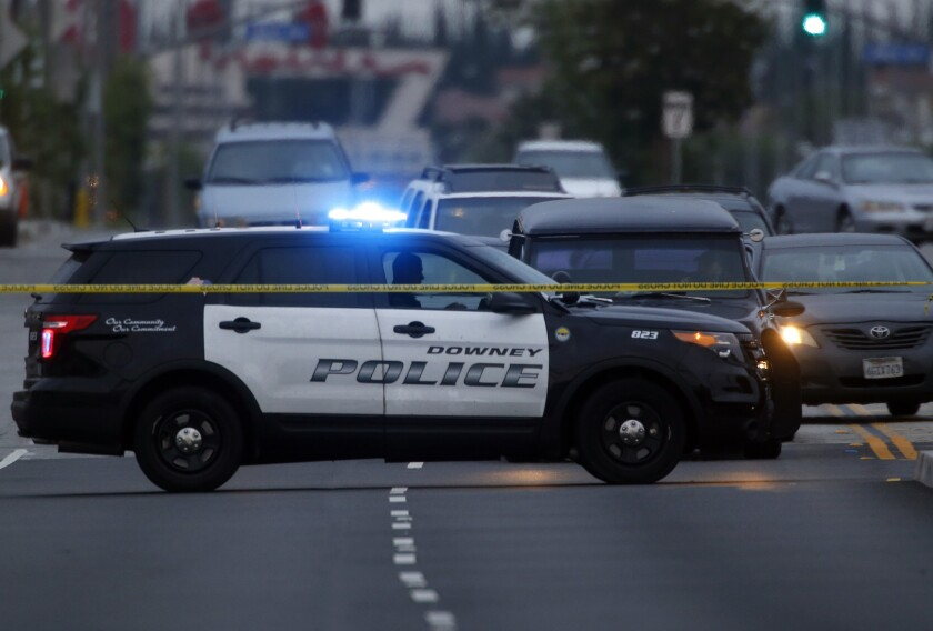 A Downey police vehicle. Officers arrested a teen on Sunday after he allegedly made online threats against a local school.