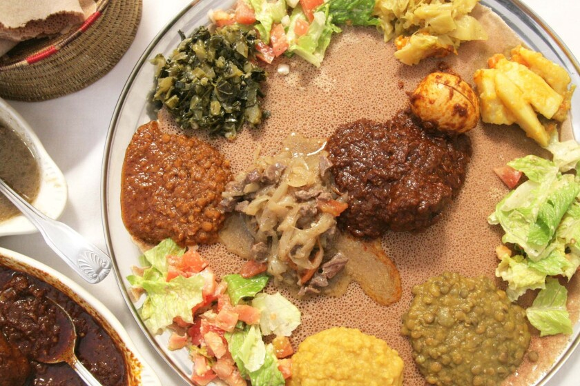 Try the veggie combo with doro wot and neck tibs at Lalibela Ethiopian restaurant.