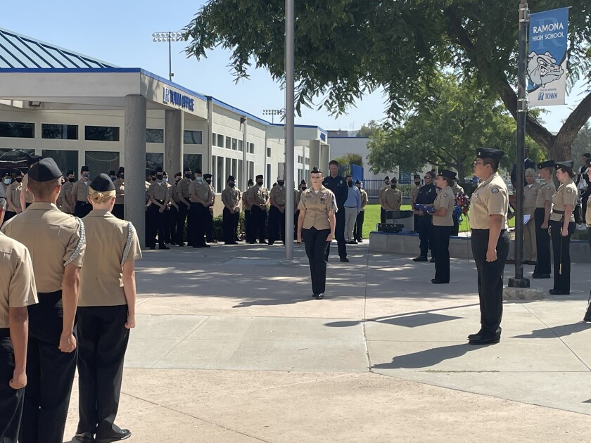Ramona High Navy Junior ROTC cadets participated in a Sept. 9 ceremony for the 20th anniversary of the 9/11 attacks.
