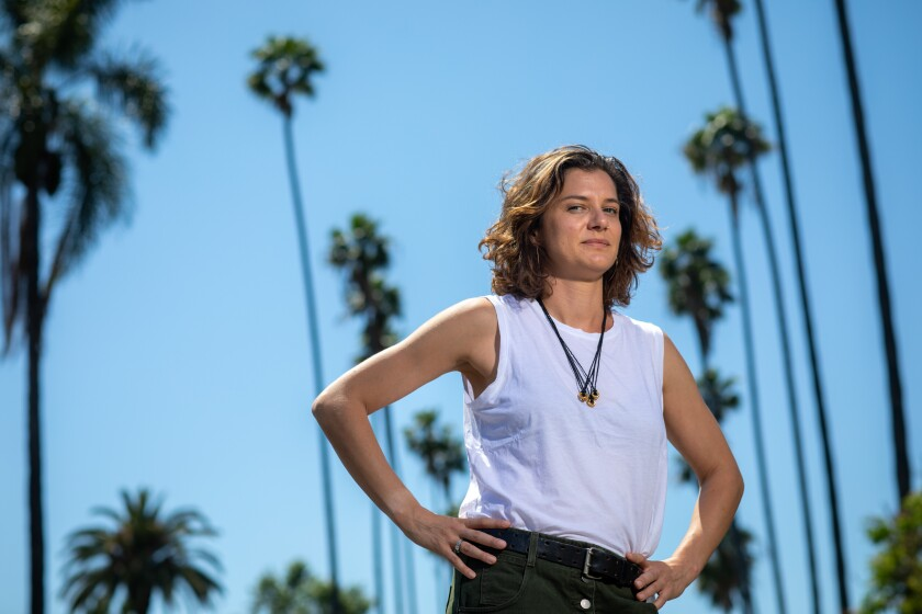 """Ivy Pochoda near the north end of West Adams in L.A., where she set her new noir novel, """"These Women."""""""