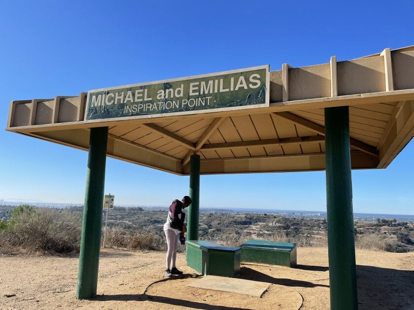 The shade cover at Michael and Emilias Inspiration Point in Kenneth Hahn state park.