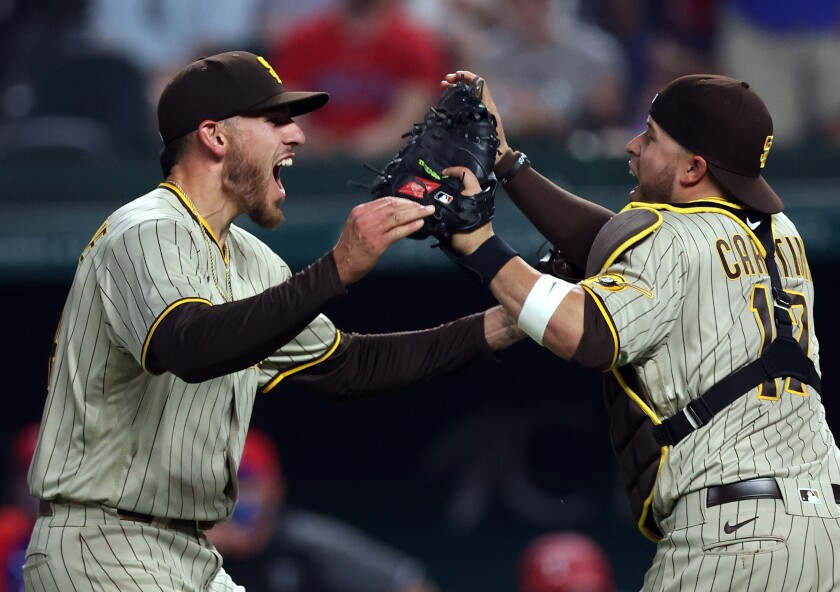 Joe Musgrove and Victor Caratini celebrate no-hitter