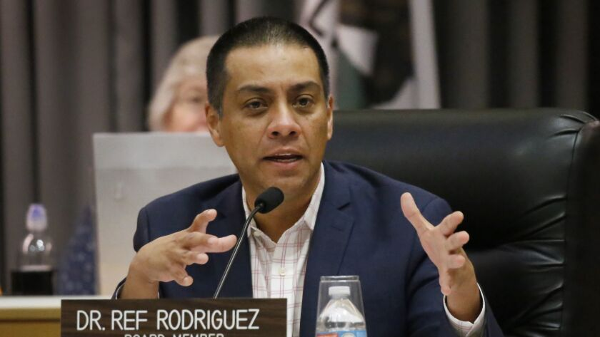 The L.A. City Council has approved a timetable for candidates aspiring to replace L.A. Unified board member Ref Rodriguez, who resigned in July. The most important date is March 5, when the election will take place.