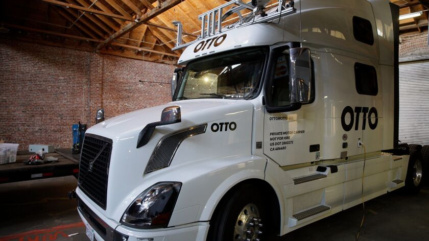 This Thursday, May 12, 2016, photo shows an Otto driverless truck at a garage in San Francisco. An 1