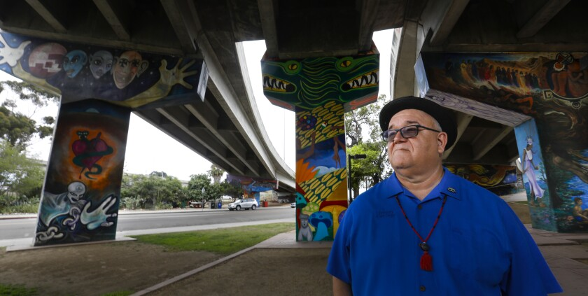 Alberto Pulido, ethnic studies professor at the University of San Diego, is shown at Chicano Park. He is the co-author of San Diego Lowriders: A History of Cars and Cruising.
