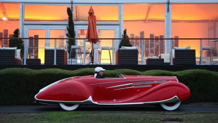 MONTEREY, CA. - AUGUST 21, 2016: A 1938 Delahaye 165 Figoni & Falaschi Cabriolet from the Robert M.