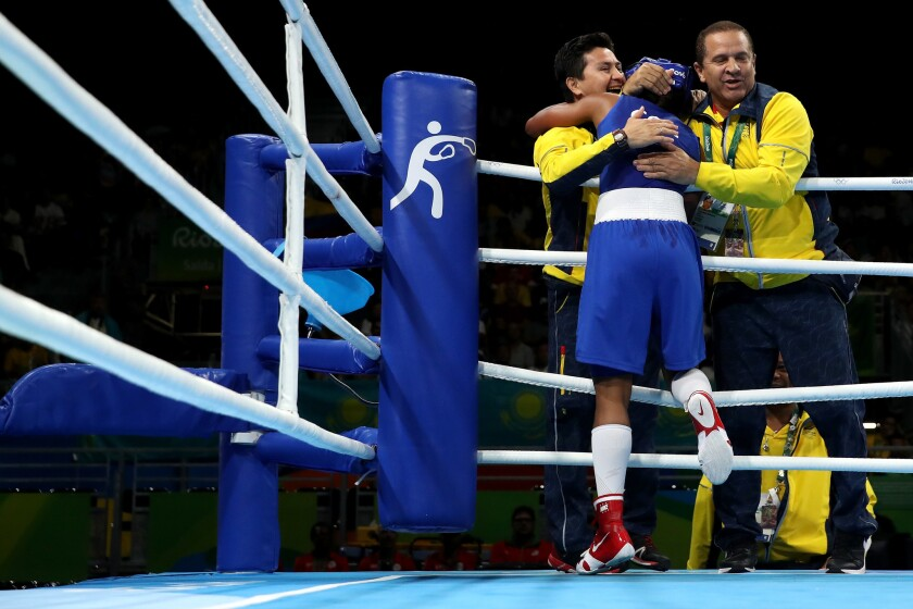 RIO DE JANEIRO, BRAZIL - AUGUST 16: Ingrit Lorena Valencia Victoria of Colombia celebrates after defeating Peamwilai Laopeam (not pictured) of Thailand in the Women's Fly (48-51kg) Quarterfinal 3 on Day 11 of the Rio 2016 Olympic Games at Riocentro - Pavilion 6 on August 16, 2016 in Rio de Janeiro, Brazil. (Photo by Christian Petersen/Getty Images) ** OUTS - ELSENT, FPG, CM - OUTS * NM, PH, VA if sourced by CT, LA or MoD **