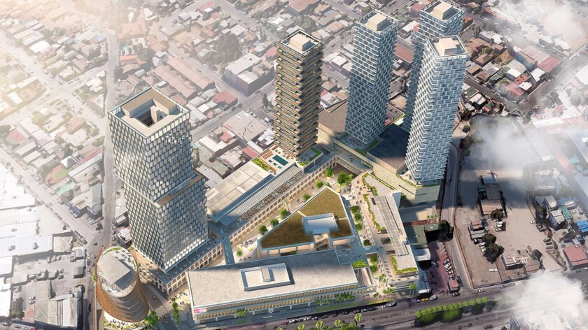 A rendering of the proposed Bajalta development in Tijuana, which would include 400 condos, a hotel, an office building and mall.