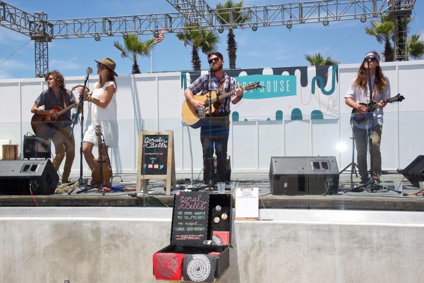 The Coral Bells — Joshua McCleskey, Kaley Morlock, Matt Rogan and Jimmy Schmitz — perform 'indie-folk-and-roll' July 21 on the Beach House stage in Belmont Park, Mission Beach.