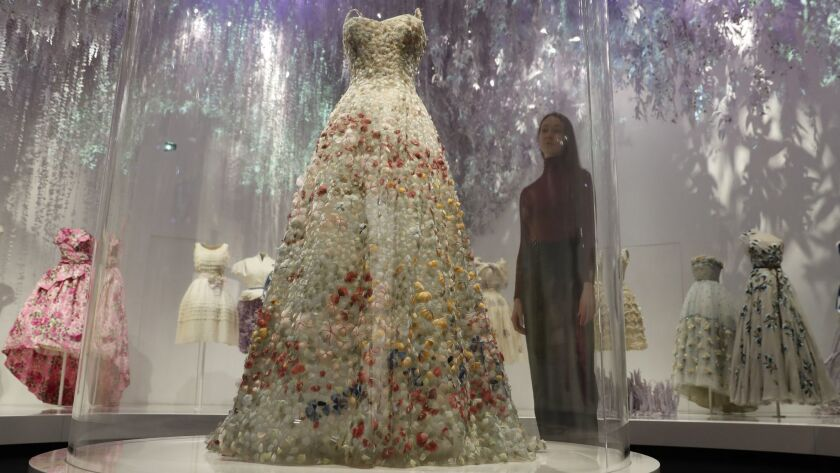 A Christian Dior design by Maria Grazia Chiuri from the haute couture spring/summer 2017 collection is displayed at the V&A Museum in London.