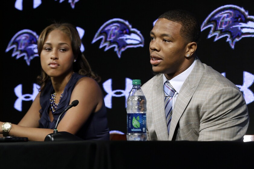 Ray Rice and his wife, Janay Rice, at a disastrous news conference at the Ravens' practice facility in May.