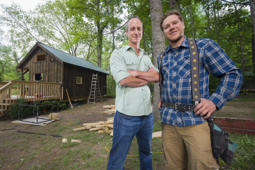 """Tiny House Nation's"" renovation experts and hosts John Weisbarth, left, and Zack Giffin."