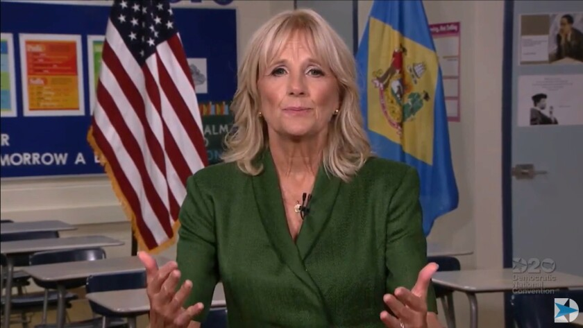 Jill Biden at the Democratic National Convention in August.