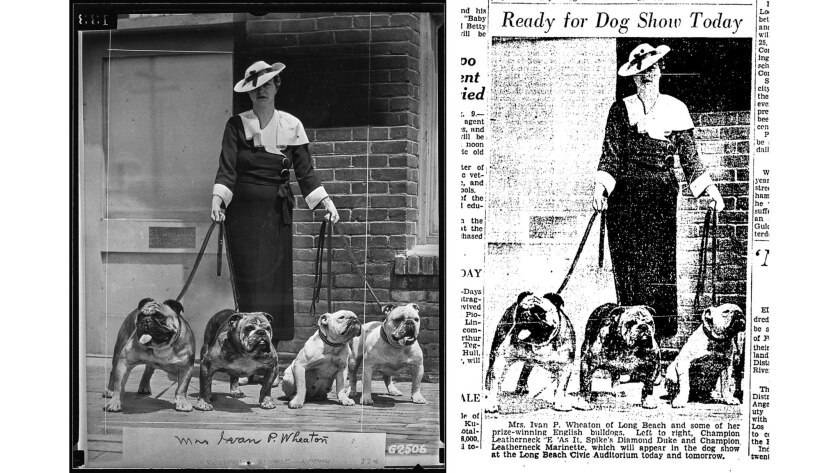 caption from Aug. 10, 1935, Los Angeles Times: Mrs. Ivan P. Wheaton of Long Beach and some of her aw